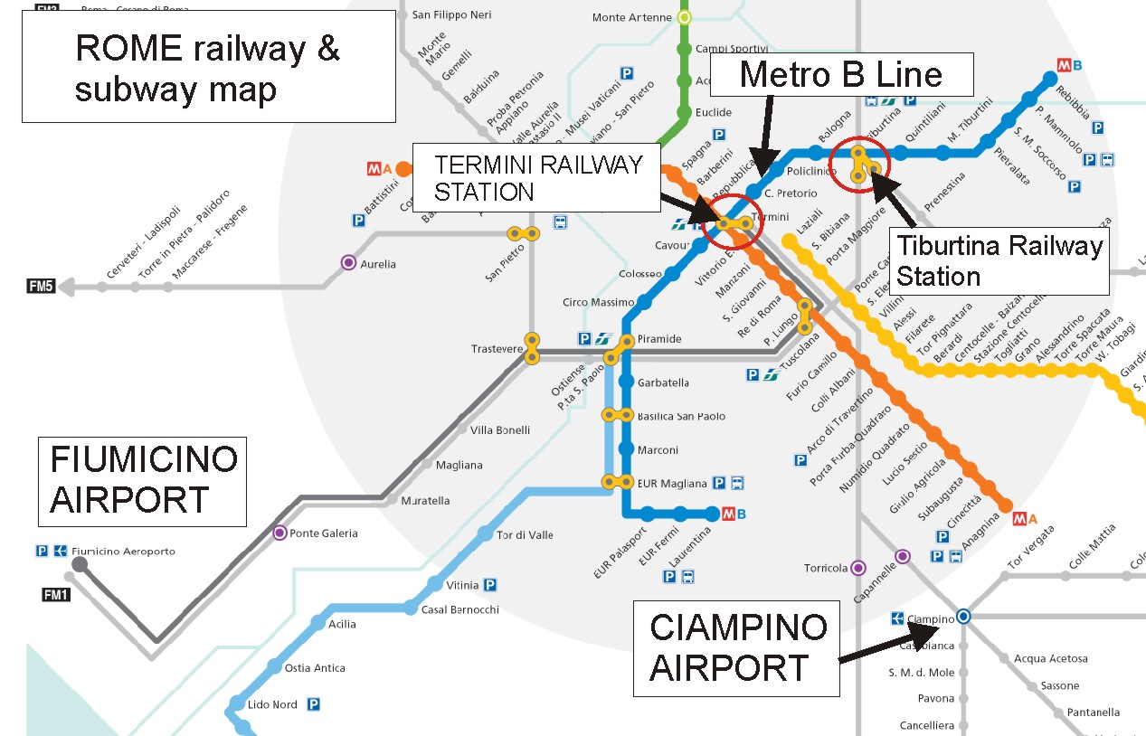 TIMETABLE - Rome map with airports